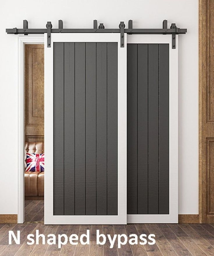 Diyhd 5ft 11ft Bypass Sliding Barn Wood Door Hardware Interior Sliding Door Black Rustic Sli In 2020 Double Sliding Doors Door Hardware Interior Sliding Doors Interior