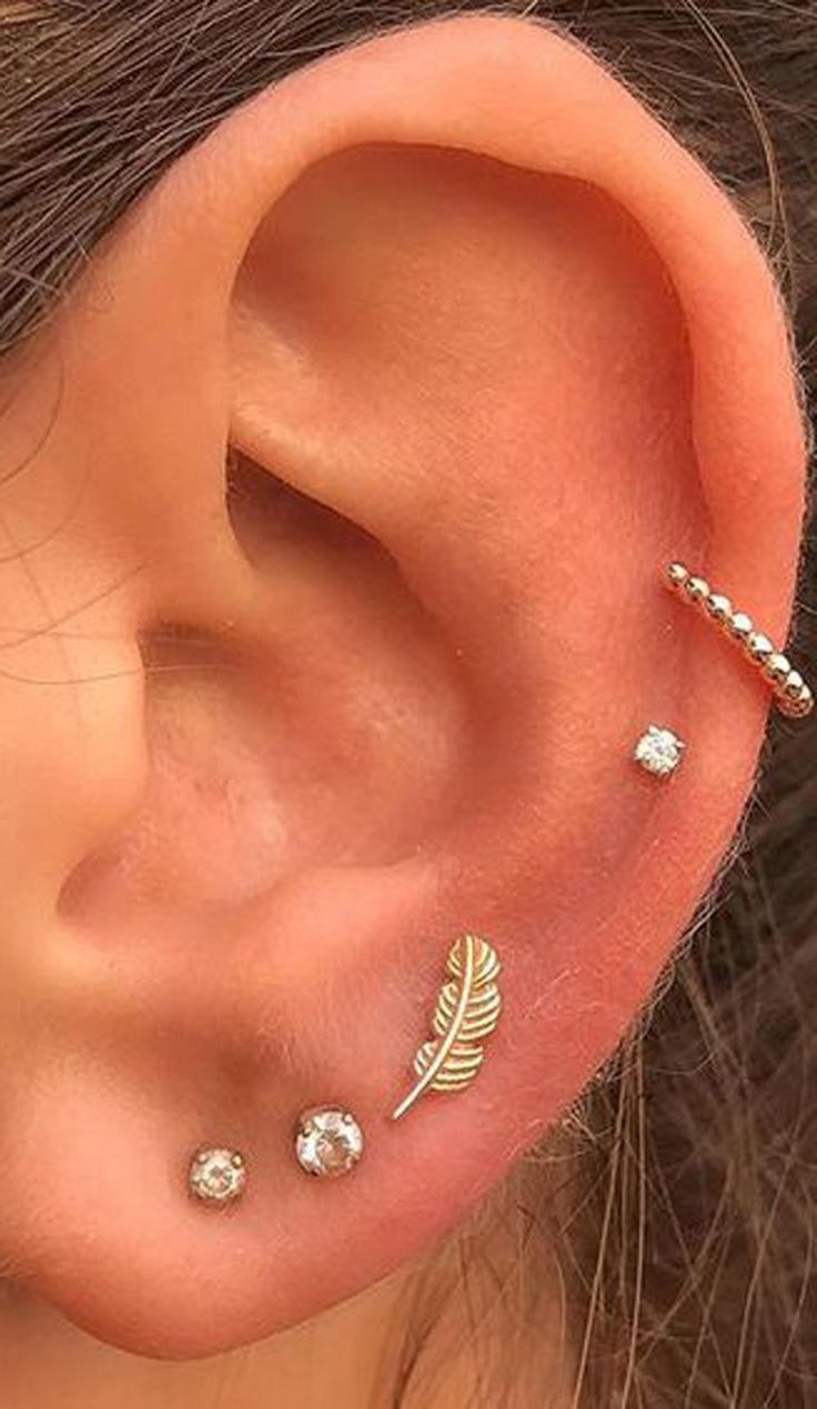 multiple ear piercing ideas for women leaf jewelry