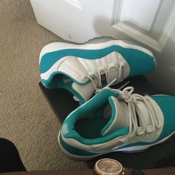 Jordan Aqua 11s Shoe strings dirty 8/10 condition Jordan Shoes Sneakers
