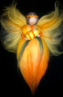 Wool fairy with baby, brigth colored, Waldorf inspired