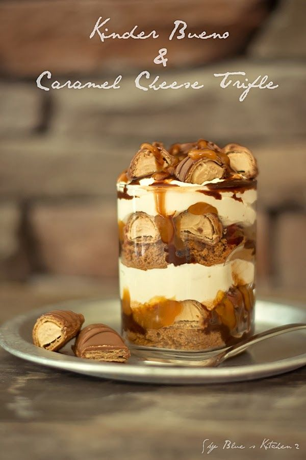 KINDER BUENO CARAMEL CHEESE TRIFLE