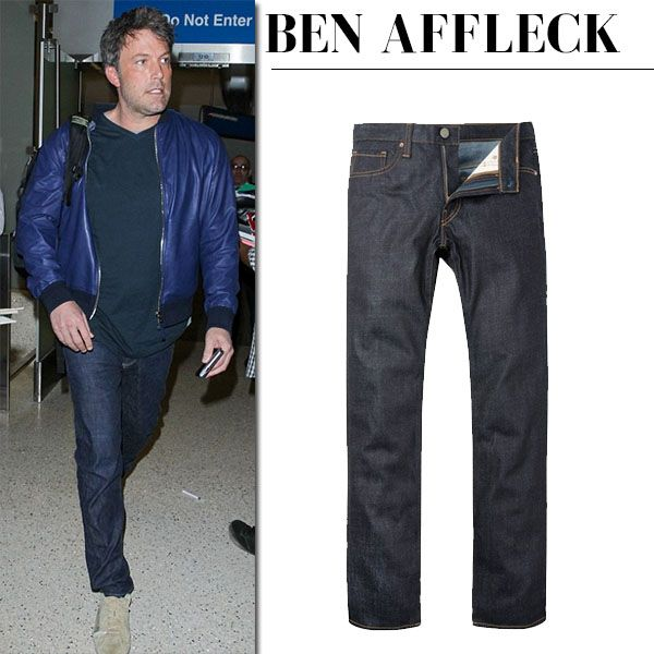 Ben Affleck in raw denim jeans and blue bomber jacket