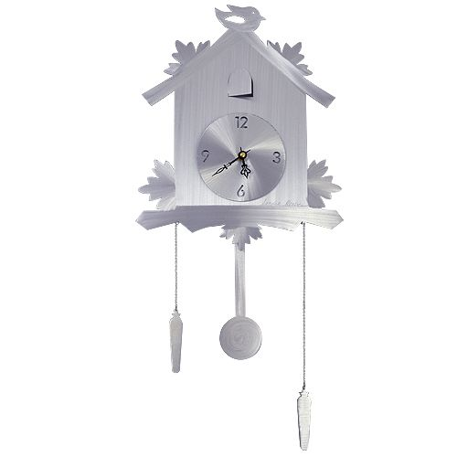 """Brushed Aluminum Contemporary Cuckoo Clock. A contemporary interpretation of the classic German icon, this stylistic cuckoo clock floats 1"""" from the wall with an ornamental bird, adjustable decorative weights, and a functioning pendulum. Crafted from aluminum metal, the surface is hand-ground with a brushed texture that playfully engages light and shadow from different viewing angles. Best of all, the use of lightweight aluminum allows the clock to easily hang on a single nail or screw."""