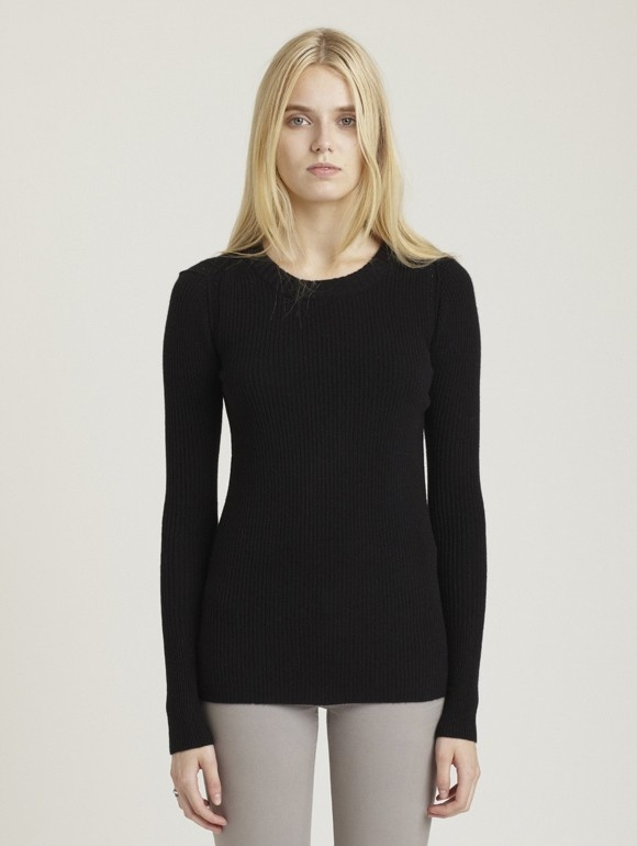 INHABIT Womens Ribbed Cashmere Crewneck - Black