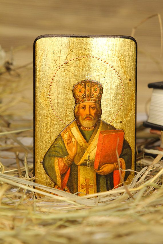 Saint NICHOLAS - iconography orthodox catholic religious gift for dad mom sister husband child friend parents godparents grandparent family, $22.00. Ukraine