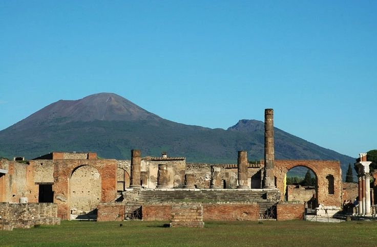 The Vesuvius and the ruins of Pompeii.
