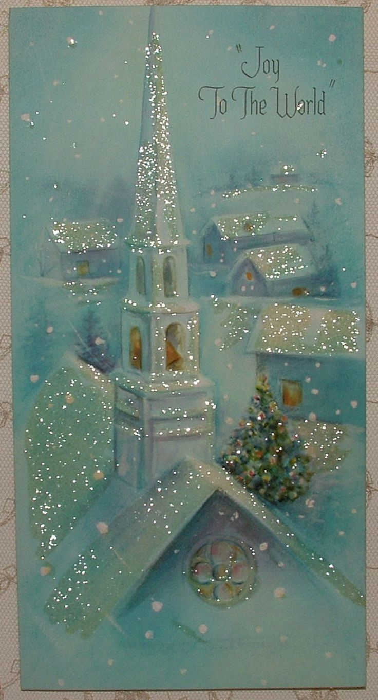 Unused Glittered Blues Church Houses 50's Vintage Christmas Greeting Card | eBay