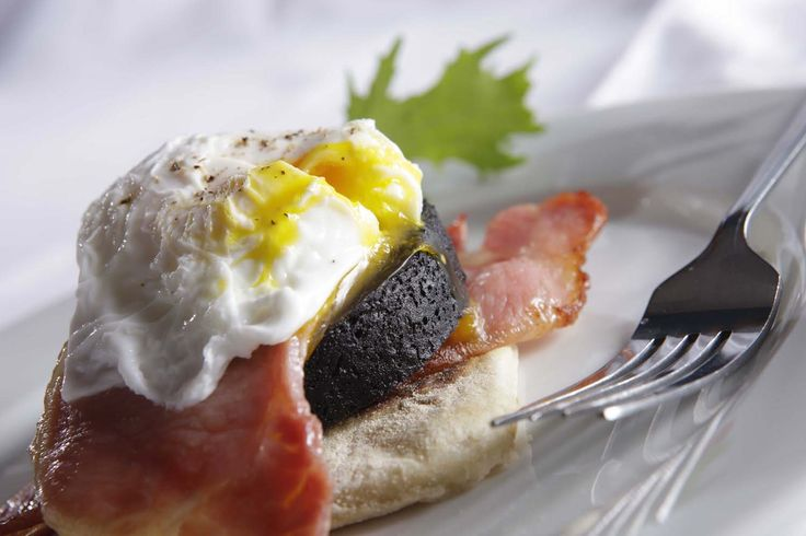 Braighe House Stack - Potato Scone, bacon rasher, Stornoway Black Pudding topped with a poached egg.