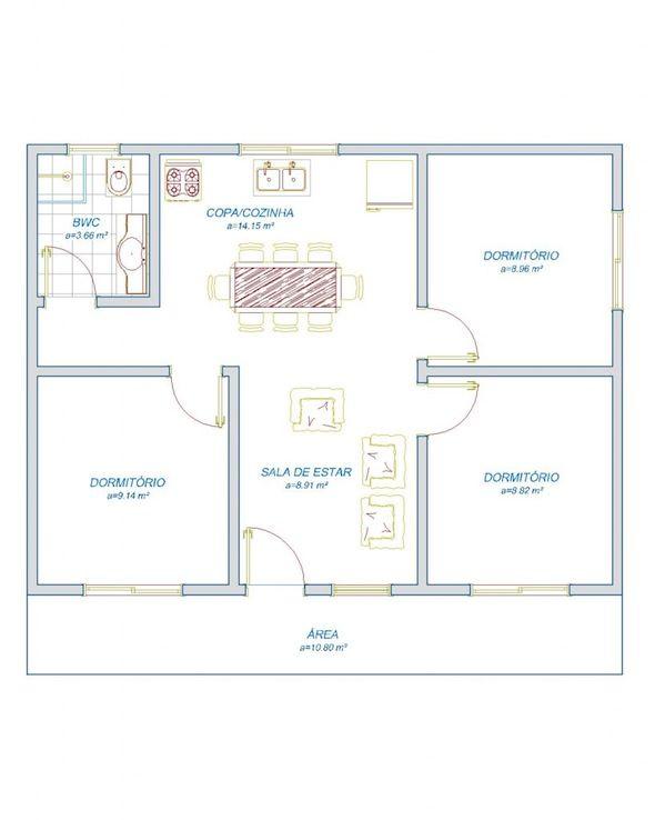 Plantas de casas modelos projetos planta baixa 07 for Sala de 9 metros quadrados