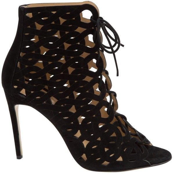Pre-owned Bionda Castana Heels (1.965 BRL) ❤ liked on Polyvore featuring shoes, pumps, heels, black, women shoes heels, laced up shoes, black open toe shoes, suede shoes, black heeled shoes and black pumps