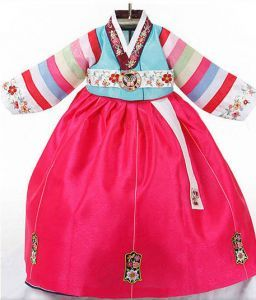 $100 Baby girl's hanbok - Short blue top (toddler size available)