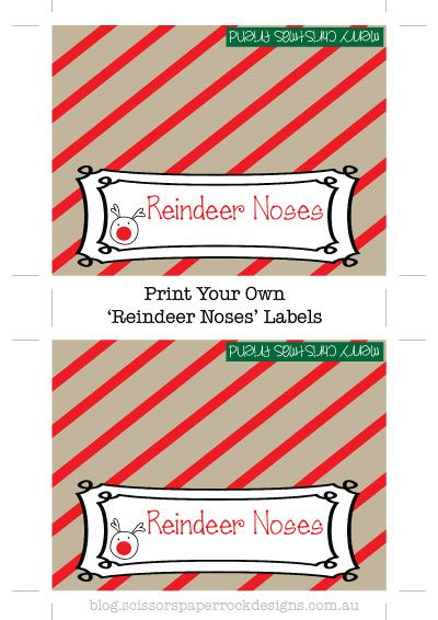 FREE Printable labels {reindeer noses and reindeer food} - By Scissors Paper Rock the BLOG