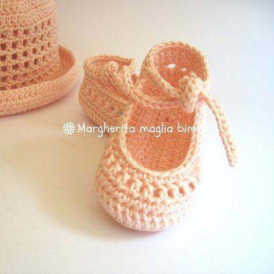 Scarpine ballerine neonata/bambina rosa pesca/trafori - uncinetto - puro cotone - Battesimo/cerimonia