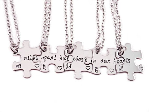Personalized Miles Apart But Close In Our Hearts Puzzle Piece Necklace Set- Puzzle Pieces - Hand Stamped Puzzle Piece Necklace Set of 5