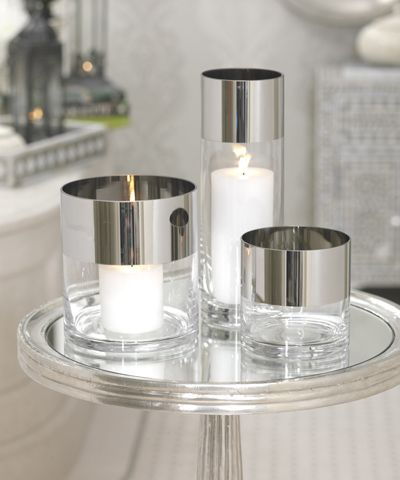 Platinum Band Clear Glass Candleholder / Vase