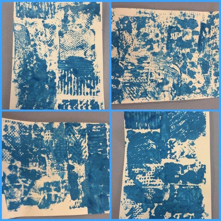PINTURA AMB TEXTURES - Material: paper, pintura, diversos materials de plàstic o cartró amb relleu - Nivell: 2PRIM CI 2015/16 Escola Pia Balmes