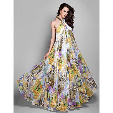 Formal Evening/Prom/Military Ball Dress Sheath/Column Halter Floor-length Chiffon Dress – GBP £ 46.14