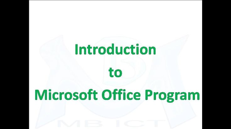 Introduction to Microsoft Office Program