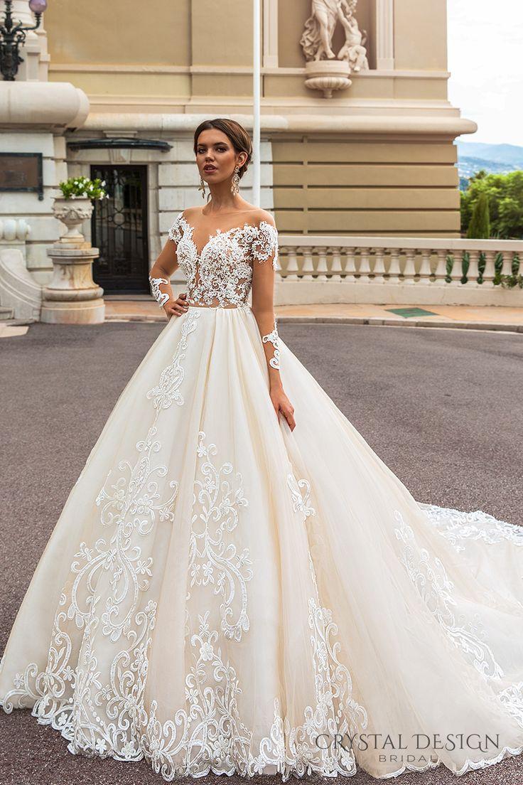 crystal design 2017 bridal long sleeves off the shoulder deep sweetheart neckline heavily embellished bodice elegant princess a  line wedding dress keyhole back royal train (ellery) mv