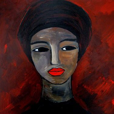 "Saatchi Art Artist Nelly Van Nieuwenhuijzen; Painting, ""Black lady with turban"" #art"