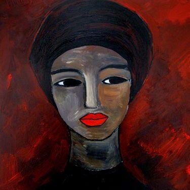 "Saatchi Art Artist Nelly Van Nieuwenhuijzen; Painting, ""Black lady with turban"" #art"