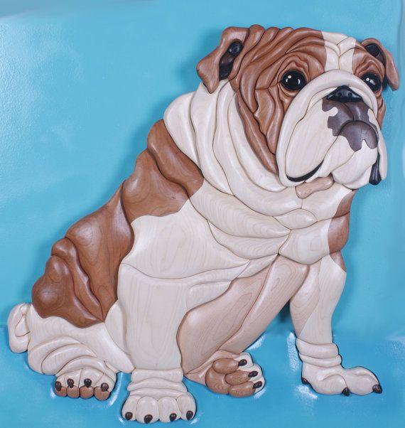 English Bulldog Intarsia Wood Sculpture by KathyWiseDesigns