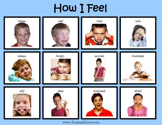 Creative Curriculum Objectives: 3, 43    After reading How I Feel book, talk about facial expressions and body language that indicate feelings.  Look at how I feel chart and ask child to determine the feelings demonstrated.  Have child make own How I Feel chart by acting out different feelings and taking pictures.