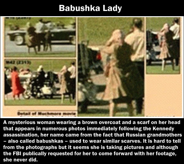 The Babushka Lady- An unknown woman photographed filming at the time of the Kennedy assasination