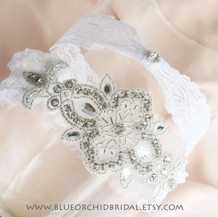 Wedding Garter Set Bridal Crystal White Lace Toss 4000 Via Etsy