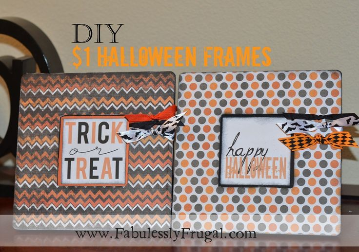Learn how to make this super cute and easy Halloween frame that costs $1.00!   Includes a link for the FREE Halloween printables.    http://fabulesslyfrugal.com/2012/10/diy-1-halloween-frame-picture-tutorial.html