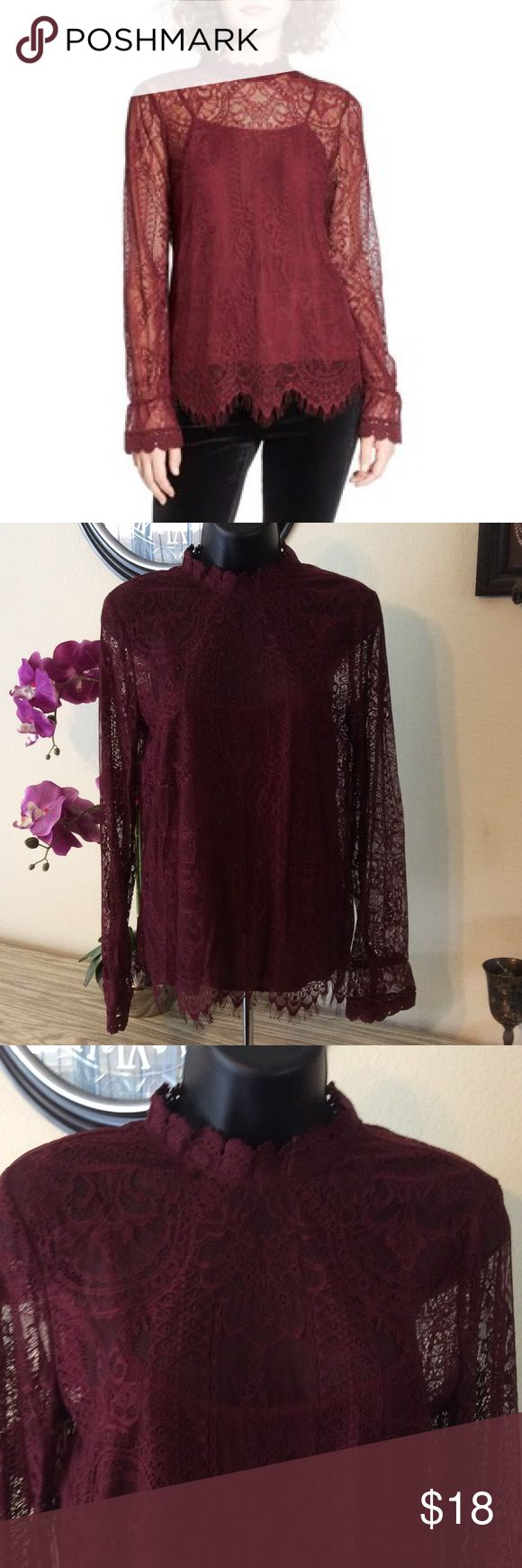 "🆕 Lace Top Gorgeous burgundy lace Top! No stains or rips. Camisole comes with it. Elastic on bells of sleeves. Ties in back. 17"" from armpit to armpit. Wayf Tops Blouses"