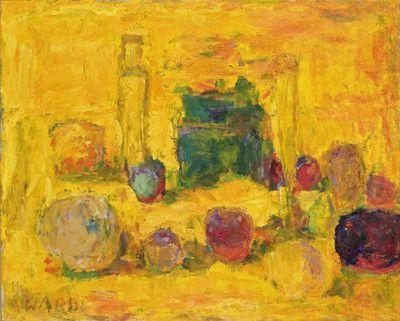 The yellow botlle by Rafael Wardi, 1968. Oil 53x66cm