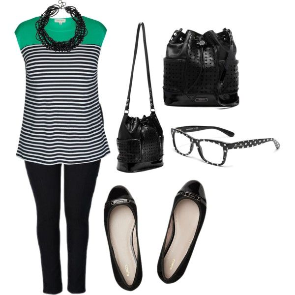 A fashion look from November 2014 featuring nautical striped tee, plus size jeans and pearl necklace. Browse and shop related looks.