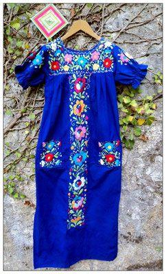 Robe Brodée Mexicaine - Carlita Vintage Shop - Boutique en ligne de Mode Vintage, Vêtements ,Accessoires et Brocantes