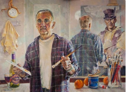 The Artist at the Foile Bar, oil (106x81cm) by David Church. Cardigan Art Society Named Art Club of the Year 2017