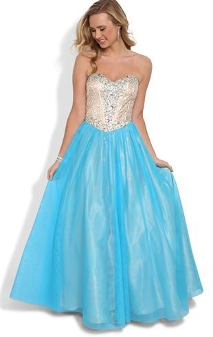 Deb Shops strapless AB/gold sequin encrusted corset bodice full mesh skirt laceup back #prom #dress $189.90