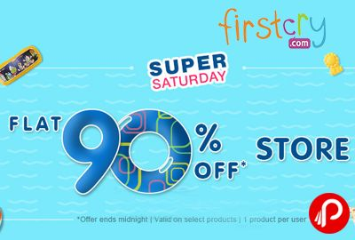 Firstcry Super Saturday is offering Flat 90% off on Sitewide Store. valid only for today (4th June'16), Valid on Select Products, applicable only for 1 product per user.   http://www.paisebachaoindia.com/flat-90-off-store-super-saturday-firstcry/