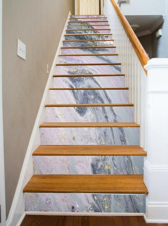 Pink Silver Gold Marble Stairs Wall Sticker Decor Ceiling Wall Etsy Marble Stairs Stair Risers Tiles Texture