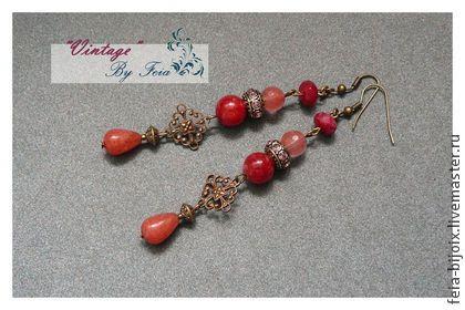 """Серьги """"Сherry"""" - коралловый,розовые серьги,красные серьги,красное украшение"""