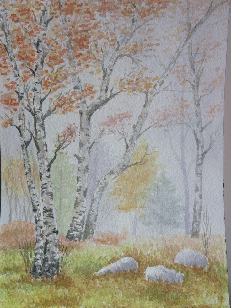 Abedules en otoño