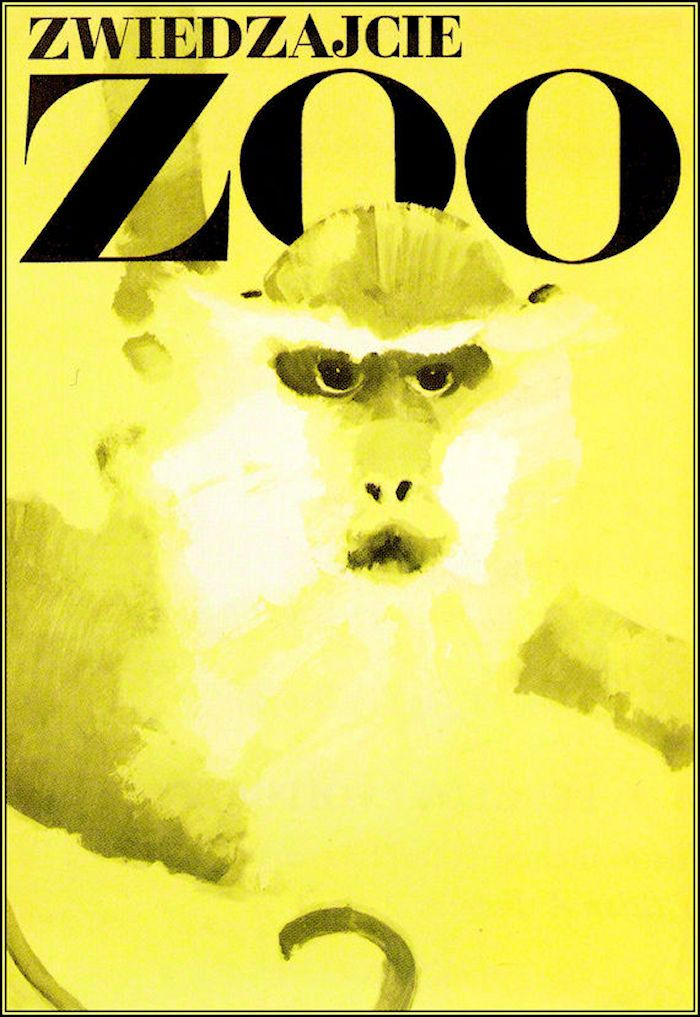 Warsaw Zoo Poland 1967 Monkey - Vintage Poster Print Art Retro Advertisement…