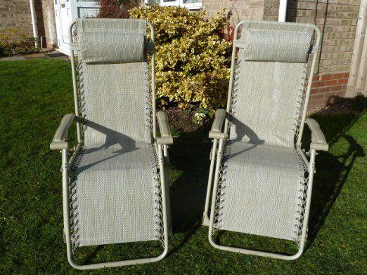 UK-Gardens - Set di 2 sedie a sdraio da giardino, reclinabili e posizionabili a diverse altezze, con cuscini in tessuto impermeabile, colore beige: Amazon.it: Giardino e giardinaggio