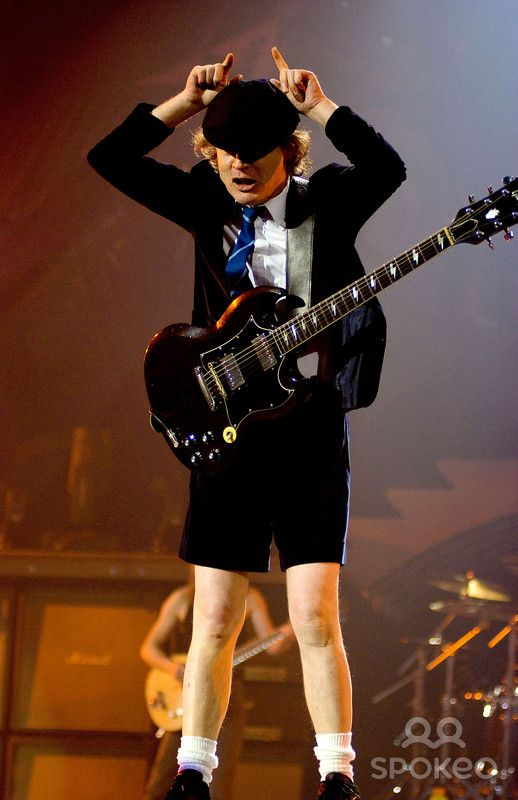 Angus Young of AC/DC performing live during their Black Ice World Tour