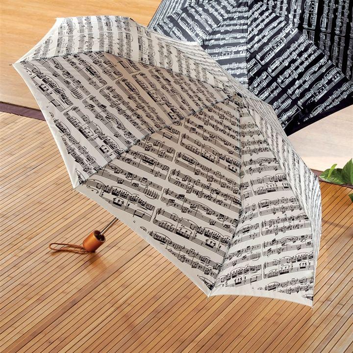Sheet Music White Compact Umbrella