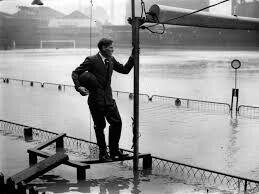 Eastville Stadium, Bristol Rovers underwater in the 1930s.