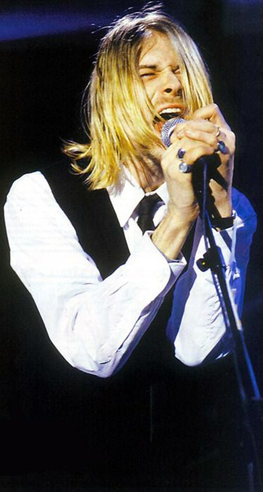 """Kurt Cobain on stage #Nirvana - 2/4/94 - Canal+, Paris, France: During """"Pennyroyal Tea,"""" Kurt's guitar began to cut out, and during the bridge in """"Drain You"""" it went out completely, at which point Kurt tossed his guitar, gave a deep scream from frustration and finished singing the song without it."""