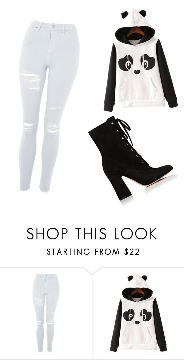 """""""Panda outfit"""" by ellibeli ❤ liked on Polyvore featuring Topshop, WithChic and Gianvito Rossi"""