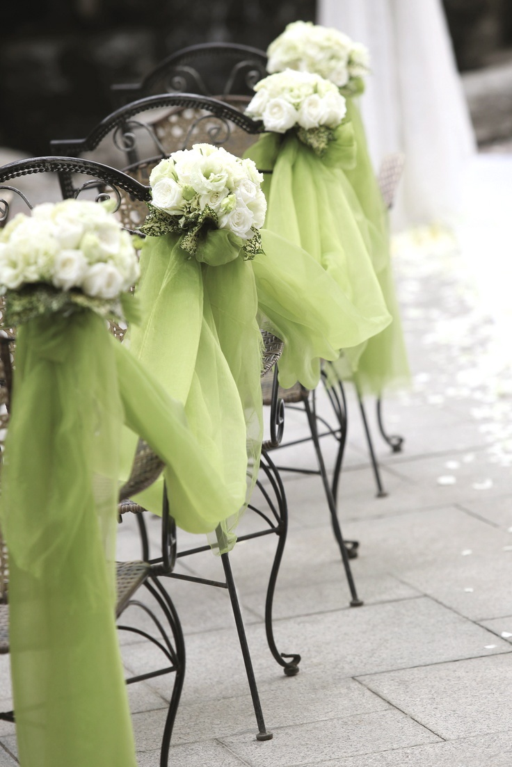 Tule draped over the chairs to create a beautiful, yet simple look for the #wedding #aisle.