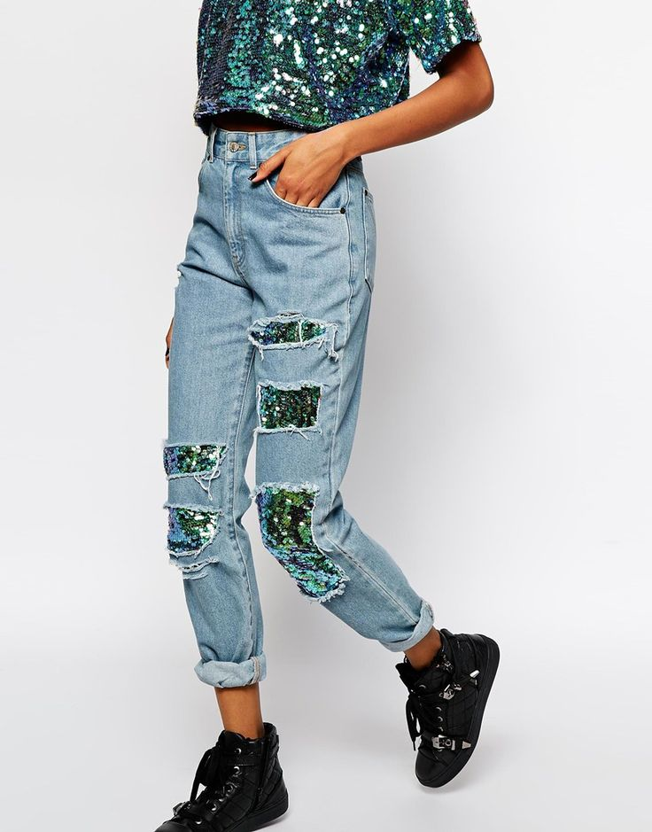 Image 1 of The Ragged Priest Mom Jeans With Holographic Sequin Patch Detail Co-ord