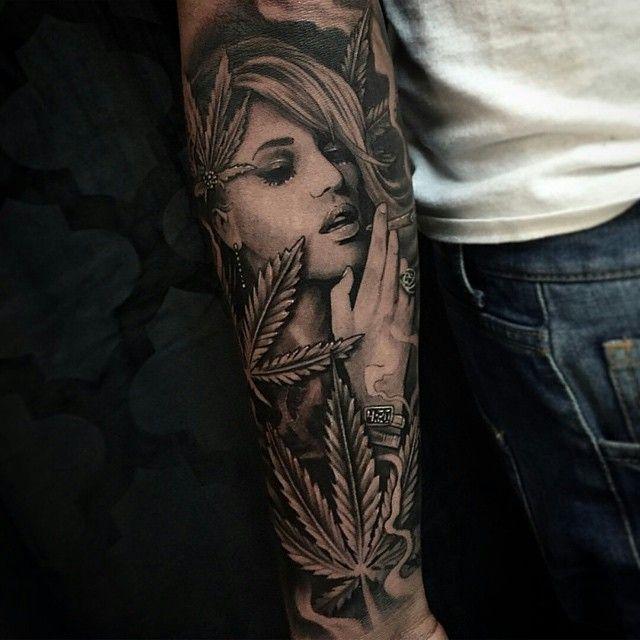 Realistic Grey Ink Marijuana Smoking Girl Drug Tattoo On Sleeve by ...